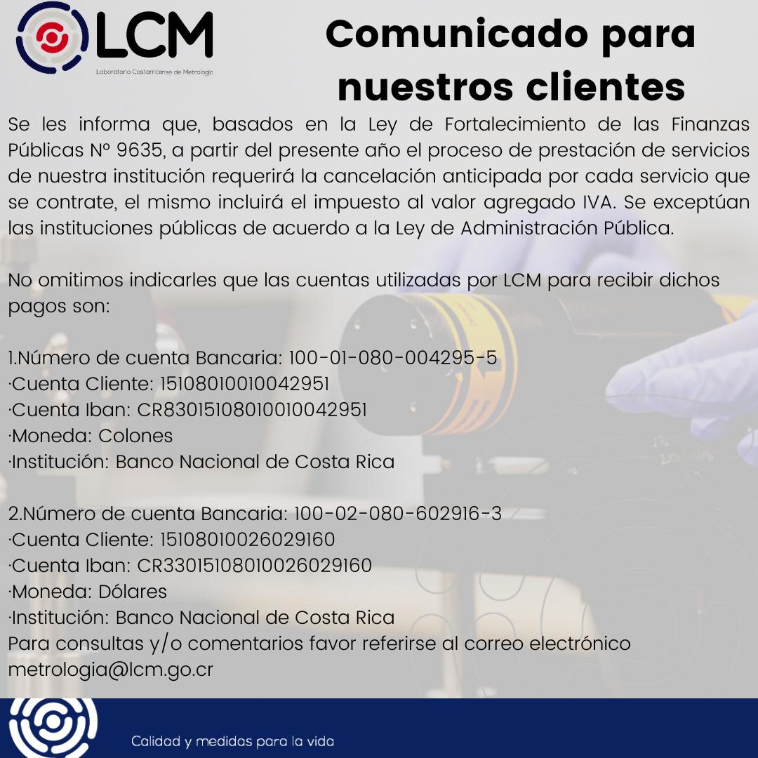 Comunicado: Pago de Servicios Metrológicos